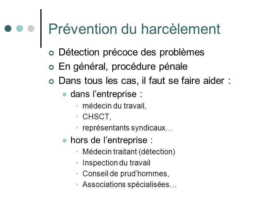 Prévention du harcèlement Détection précoce des problèmes En général, procédure pénale Dans tous les cas, il faut se faire aider : dans lentreprise :