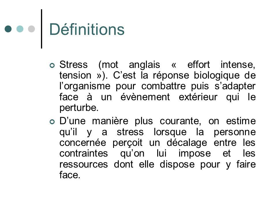 Définitions Stress (mot anglais « effort intense, tension »). Cest la réponse biologique de lorganisme pour combattre puis sadapter face à un évènemen