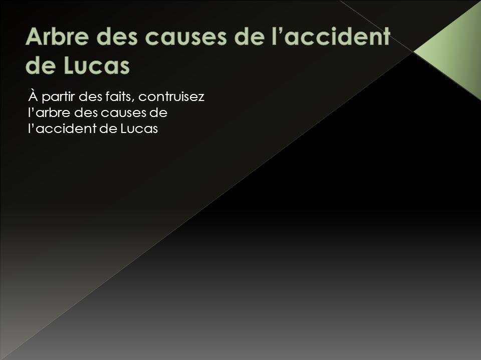 À partir des faits, contruisez larbre des causes de laccident de Lucas