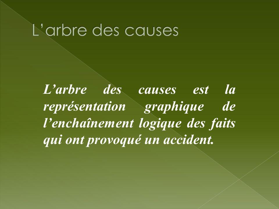 Larbre des causes est la représentation graphique de lenchaînement logique des faits qui ont provoqué un accident.