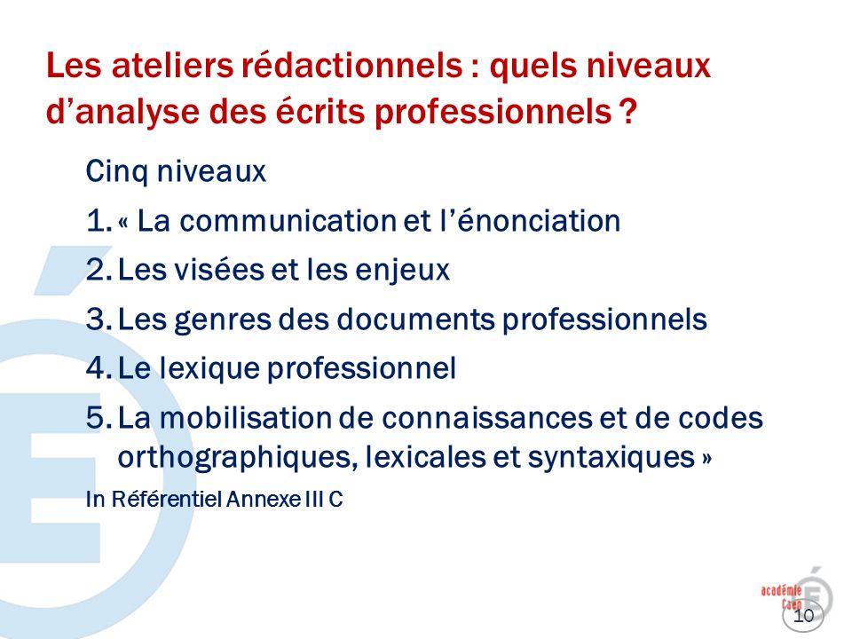 Les ateliers rédactionnels : quels niveaux danalyse des écrits professionnels ? Cinq niveaux 1.« La communication et lénonciation 2.Les visées et les
