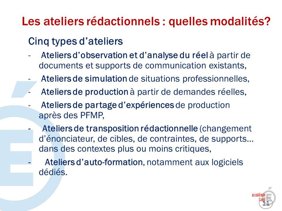 Les ateliers rédactionnels : quelles modalités? Cinq types dateliers - Ateliers dobservation et danalyse du réel à partir de documents et supports de