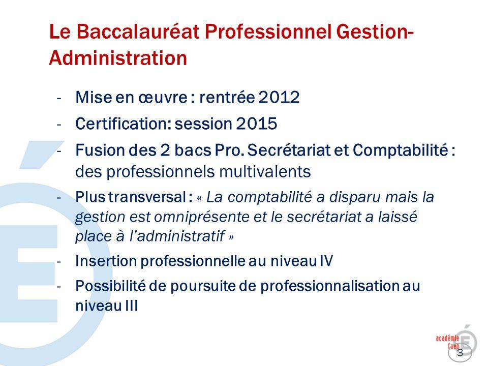 Le Baccalauréat Professionnel Gestion- Administration -Mise en œuvre : rentrée 2012 -Certification: session 2015 -Fusion des 2 bacs Pro. Secrétariat e