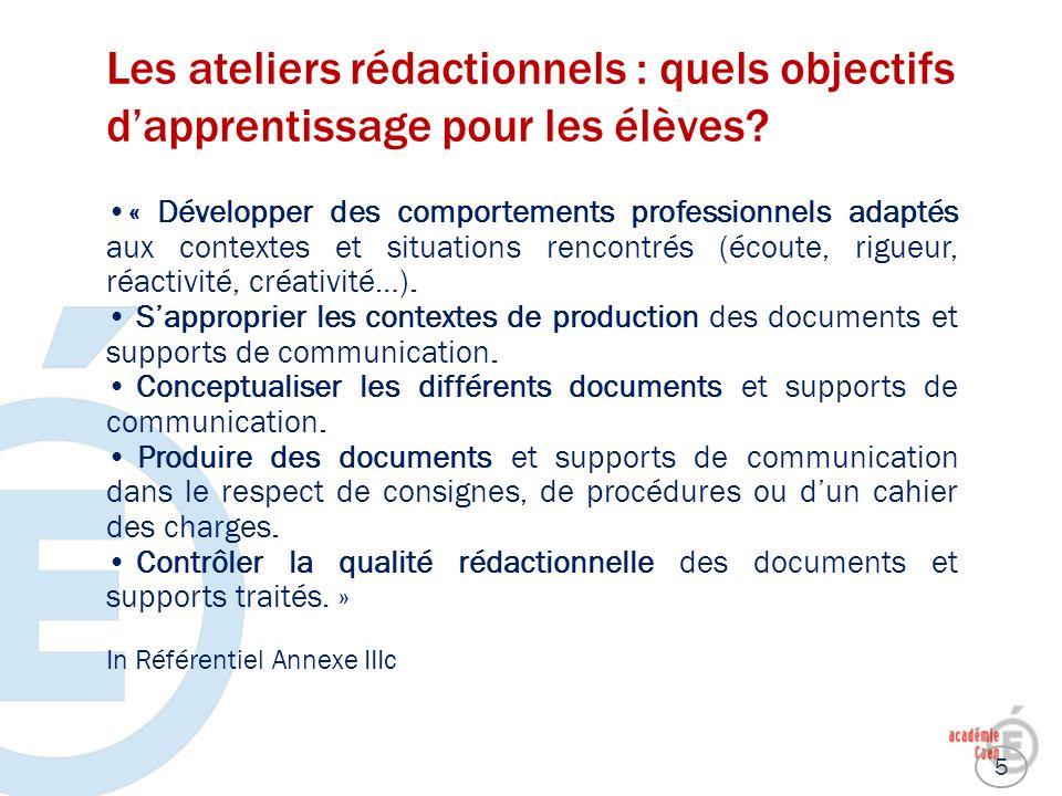 Les ateliers rédactionnels : quels objectifs dapprentissage pour les élèves? « Développer des comportements professionnels adaptés aux contextes et si