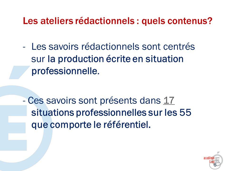 Les ateliers rédactionnels : quels contenus? -Les savoirs rédactionnels sont centrés sur la production écrite en situation professionnelle. - Ces savo