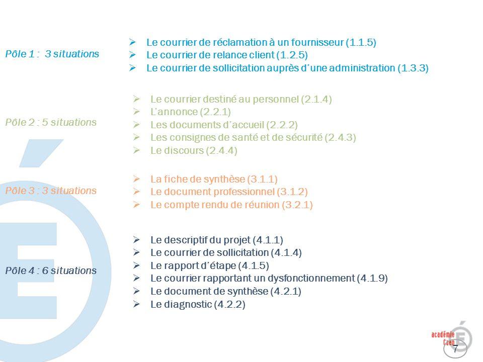 Le courrier de réclamation à un fournisseur (1.1.5) Le courrier de relance client (1.2.5) Le courrier de sollicitation auprès dune administration (1.3