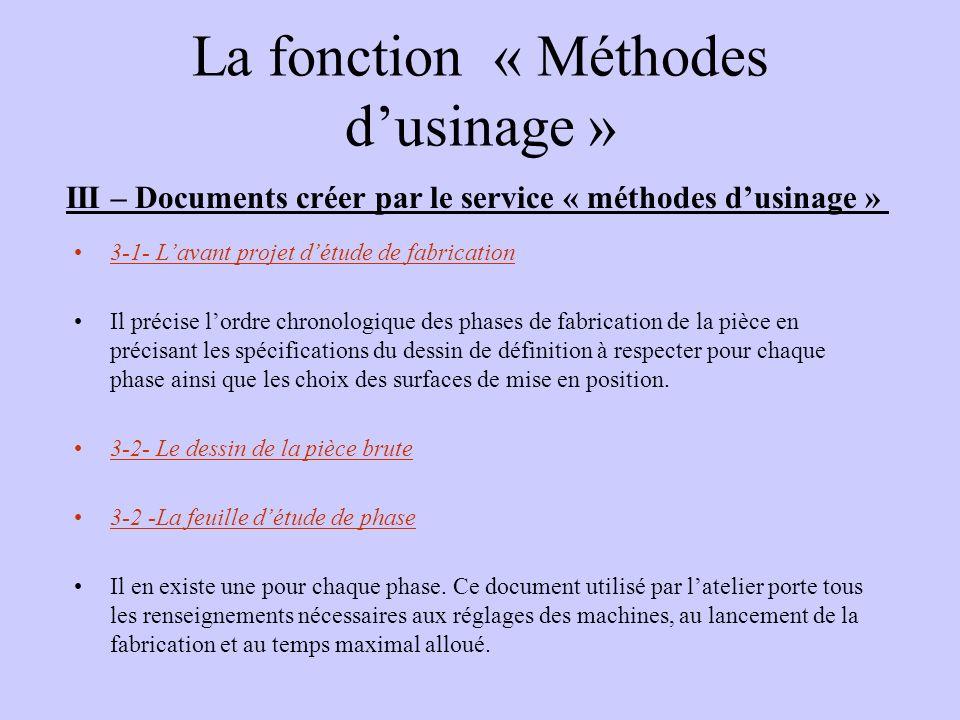 La fonction « Méthodes dusinage » III – Documents créer par le service « méthodes dusinage » 3-1- Lavant projet détude de fabrication Il précise lordr