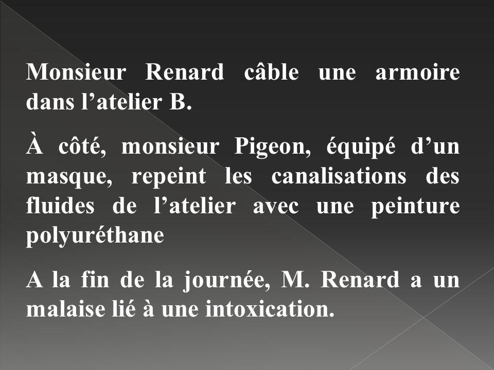 Monsieur Renard câble une armoire dans latelier B. À côté, monsieur Pigeon, équipé dun masque, repeint les canalisations des fluides de latelier avec