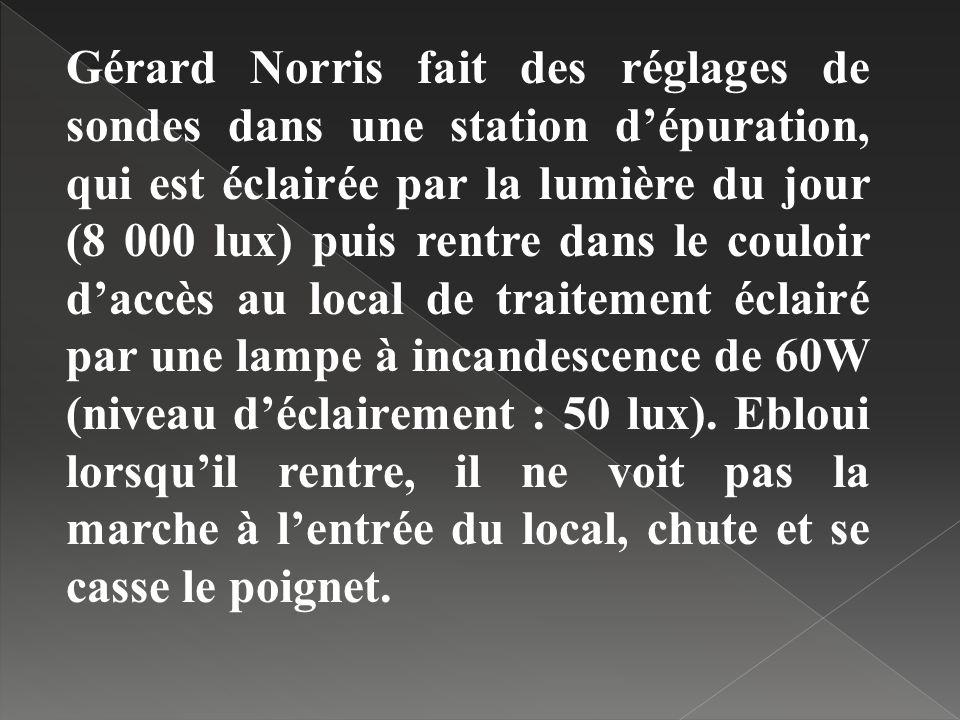 Gérard Norris fait des réglages de sondes dans une station dépuration, qui est éclairée par la lumière du jour (8 000 lux) puis rentre dans le couloir