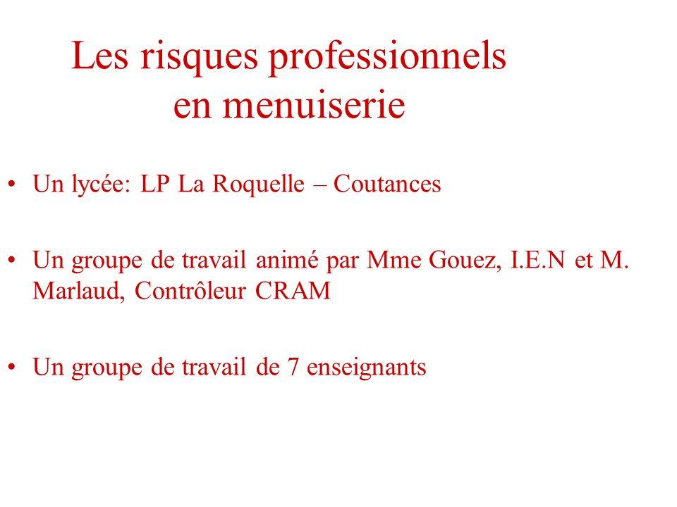Les risques professionnels en menuiserie Un lycée: LP La Roquelle – Coutances Un groupe de travail animé par Mme Gouez, I.E.N et M. Marlaud, Contrôleu