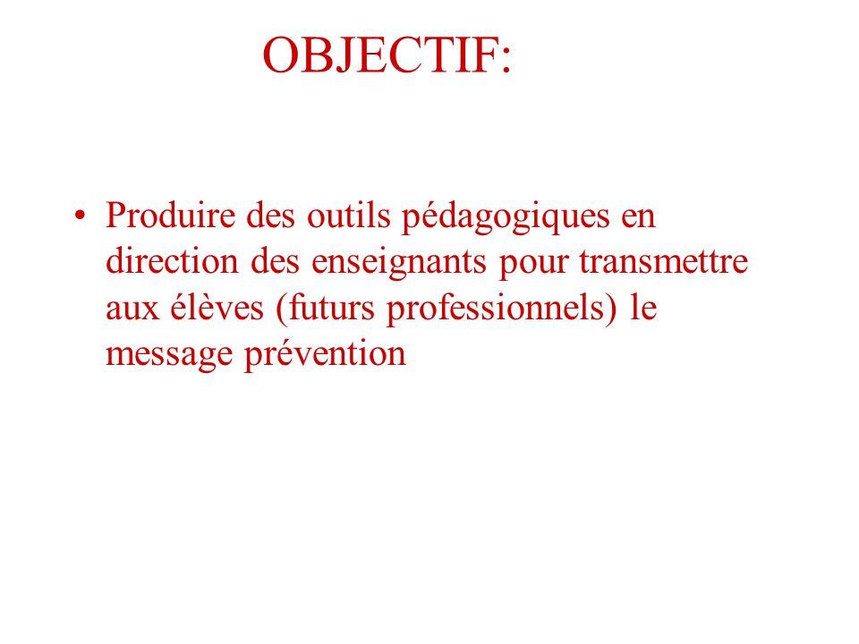 OBJECTIF: Produire des outils pédagogiques en direction des enseignants pour transmettre aux élèves (futurs professionnels) le message prévention