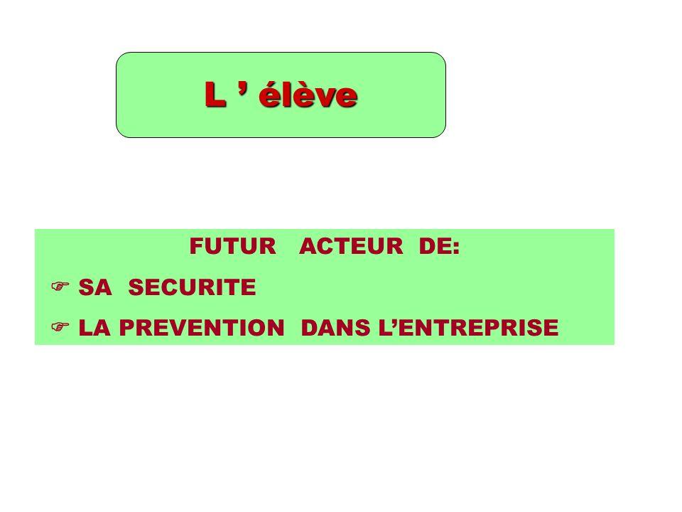 L élève FUTUR ACTEUR DE: SA SECURITE LA PREVENTION DANS LENTREPRISE