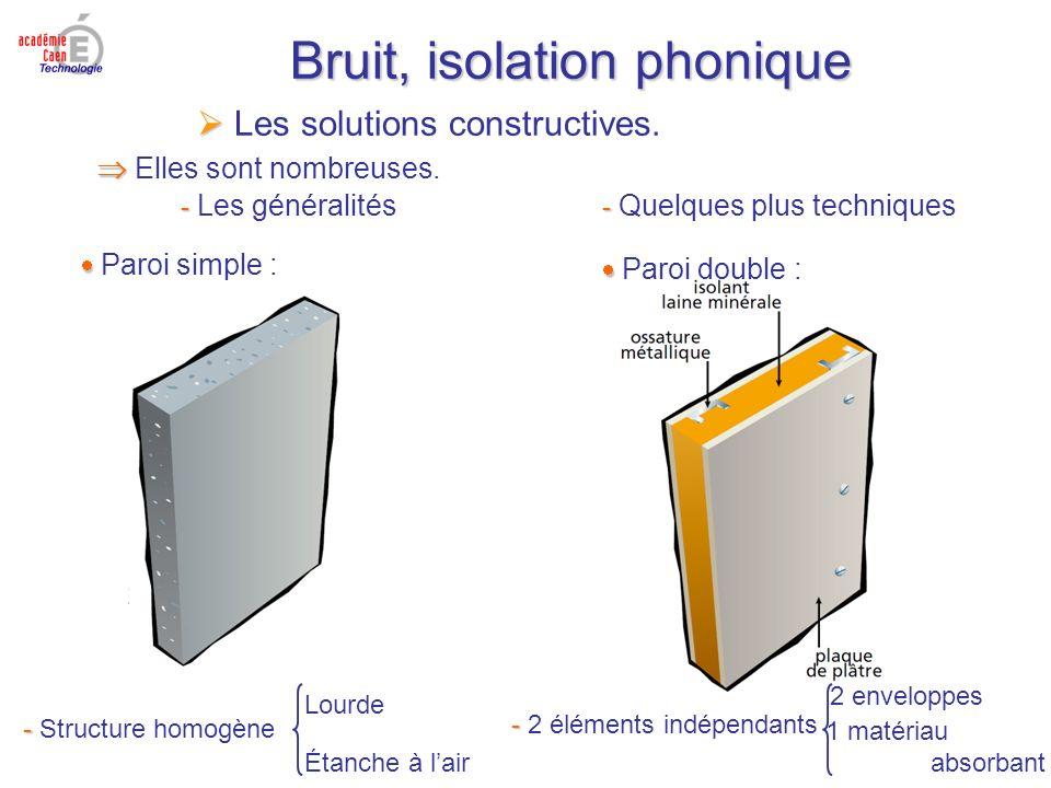 Bruit, isolation phonique Les solutions constructives. Elles sont nombreuses. - - Les généralités - - Quelques plus techniques Paroi simple : - - Stru