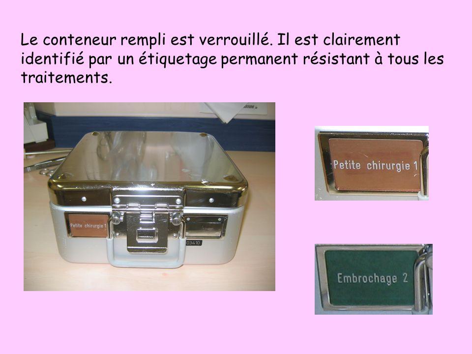 Les conteneurs Ce sont des boîtes métalliques,munies dun premier couvercle avec un filtre ou une soupape et dun deuxième qui permet le verrouillage du