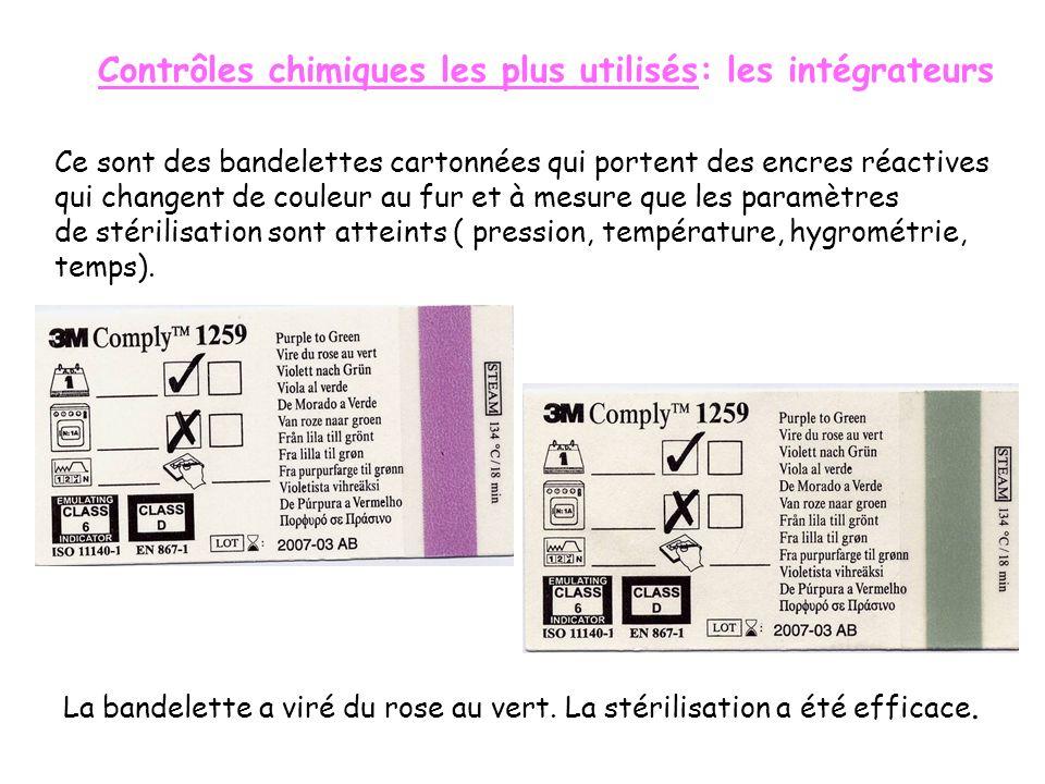 LES CONTROLES DE STERILISATION But: Garantir lefficacité de la stérilisation. Ils sont joints au chargement Contrôle chimique : rubans indicateurs de