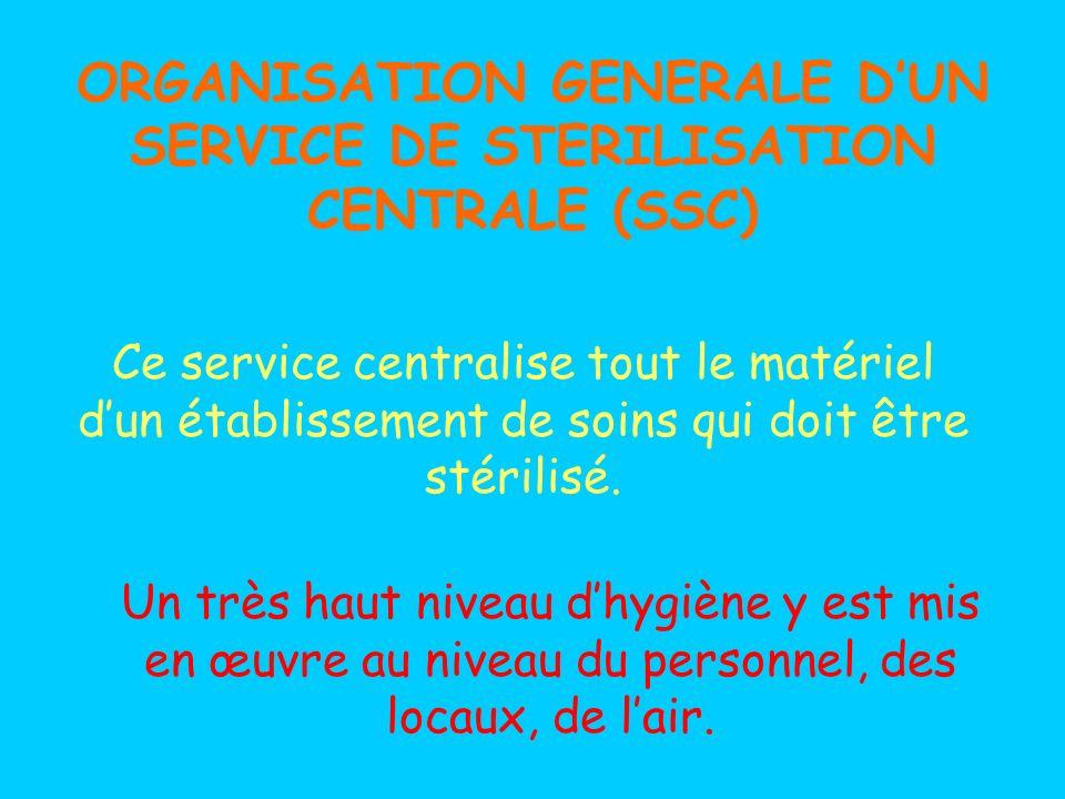 ORGANISATION GENERALE DUN SERVICE DE STERILISATION CENTRALE (SSC) Un très haut niveau dhygiène y est mis en œuvre au niveau du personnel, des locaux, de lair.