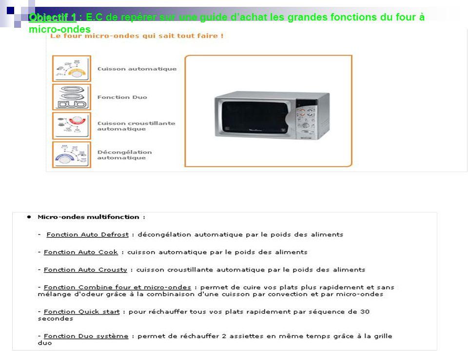 Objectif 1 Objectif 1 : E.C de repérer sur une guide dachat les grandes fonctions du four à micro-ondes