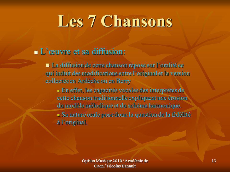 Option Musique 2010 / Académie de Caen / Nicolas Esnault 13 Les 7 Chansons Lœuvre et sa diffusion: Lœuvre et sa diffusion: La diffusion de cette chans