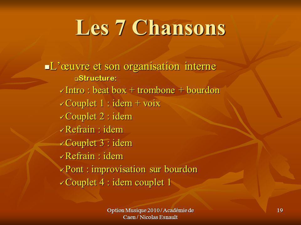 Option Musique 2010 / Académie de Caen / Nicolas Esnault 19 Les 7 Chansons Lœuvre et son organisation interne Lœuvre et son organisation interne Struc