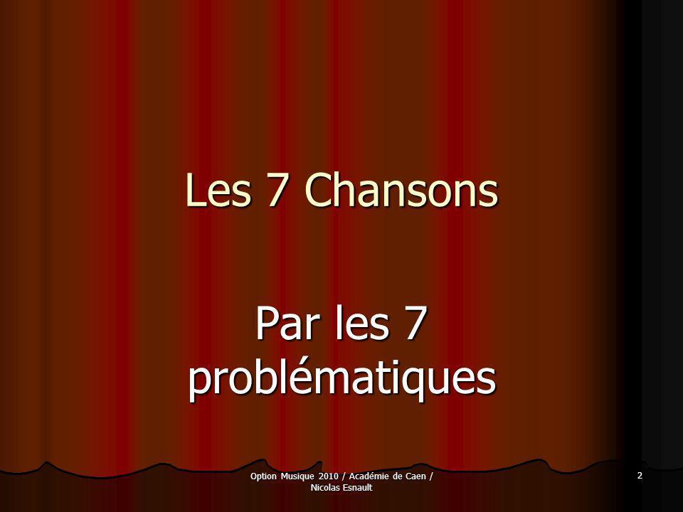 Option Musique 2010 / Académie de Caen / Nicolas Esnault 53 Les 7 Chansons Lœuvre et son interprétation Lœuvre et son interprétation La mise en musique suit la morphologie du texte.