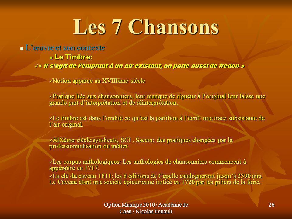 Option Musique 2010 / Académie de Caen / Nicolas Esnault 26 Les 7 Chansons Lœuvre et son contexte Lœuvre et son contexte Le Timbre: Le Timbre: « Il sa