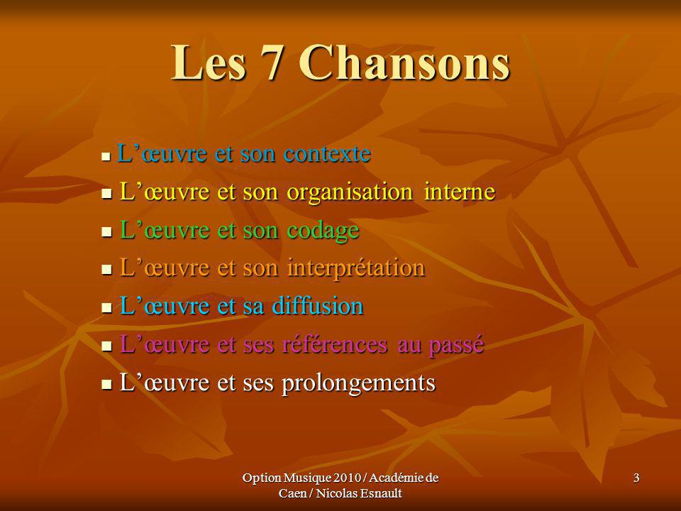Option Musique 2010 / Académie de Caen / Nicolas Esnault 54 Les 7 Chansons Lœuvre et sa diffusion Lœuvre et sa diffusion Dès 1961 au Vieux Colombier, avec un quintette ( Piano, accordéon, saxophone,contrebasse et guitare).