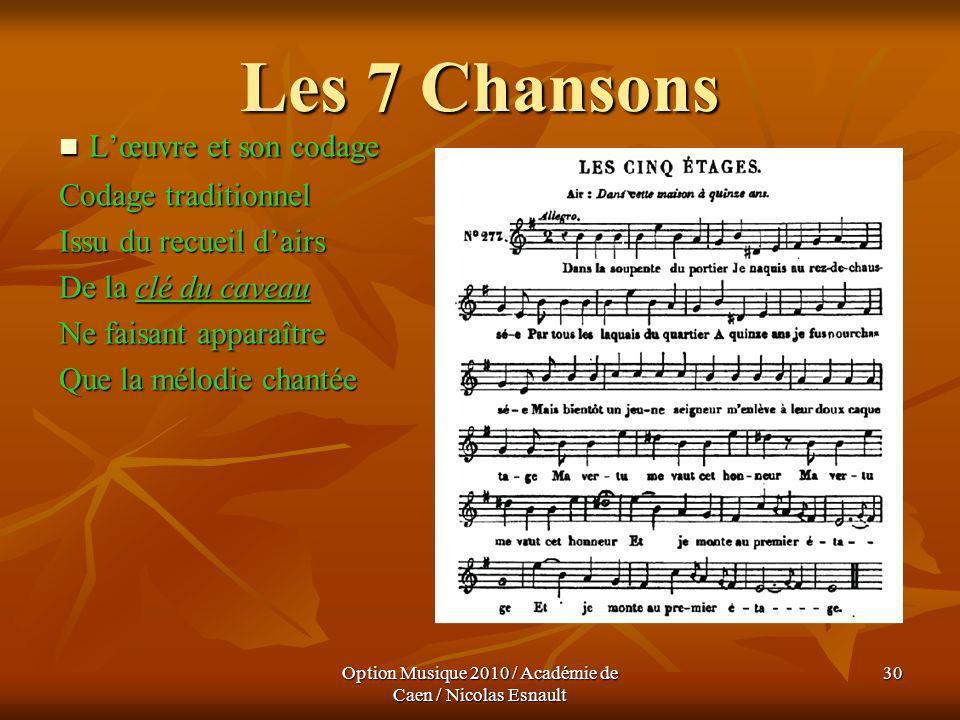 Option Musique 2010 / Académie de Caen / Nicolas Esnault 30 Les 7 Chansons Lœuvre et son codage Lœuvre et son codage Codage traditionnel Issu du recue