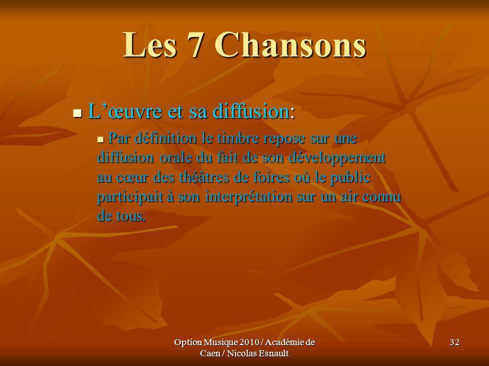 Option Musique 2010 / Académie de Caen / Nicolas Esnault 32 Les 7 Chansons Lœuvre et sa diffusion: Lœuvre et sa diffusion: Par définition le timbre re