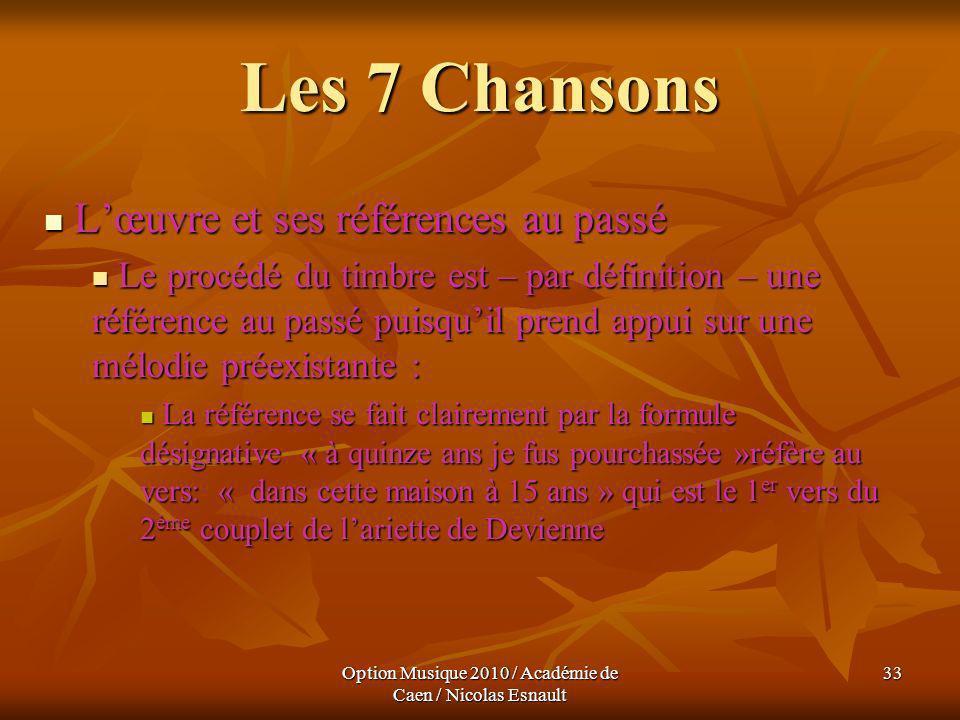 Option Musique 2010 / Académie de Caen / Nicolas Esnault 33 Les 7 Chansons Lœuvre et ses références au passé Lœuvre et ses références au passé Le proc