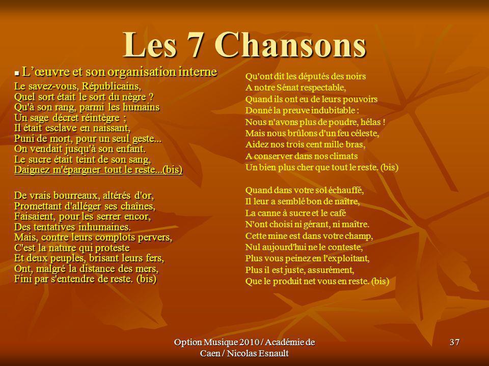 Option Musique 2010 / Académie de Caen / Nicolas Esnault 37 Les 7 Chansons Lœuvre et son organisation interne Lœuvre et son organisation interne Le sa