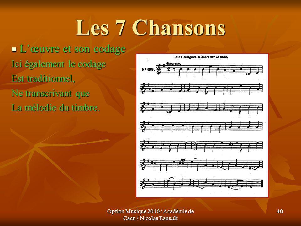 Option Musique 2010 / Académie de Caen / Nicolas Esnault 40 Les 7 Chansons Lœuvre et son codage Lœuvre et son codage Ici également le codage Est tradi