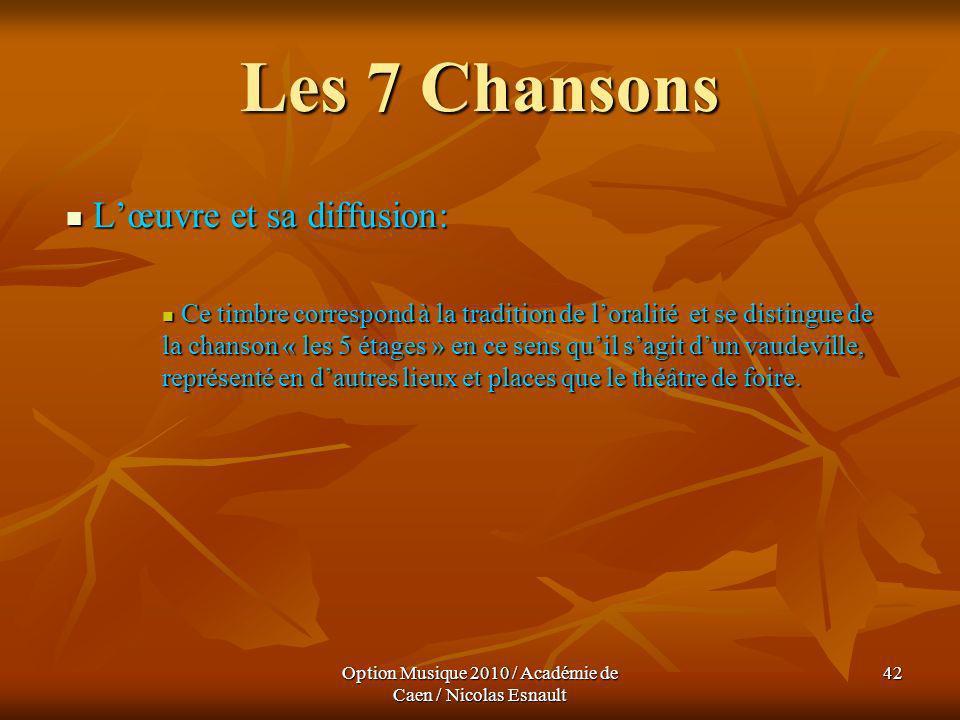 Option Musique 2010 / Académie de Caen / Nicolas Esnault 42 Les 7 Chansons Lœuvre et sa diffusion: Lœuvre et sa diffusion: Ce timbre correspond à la t
