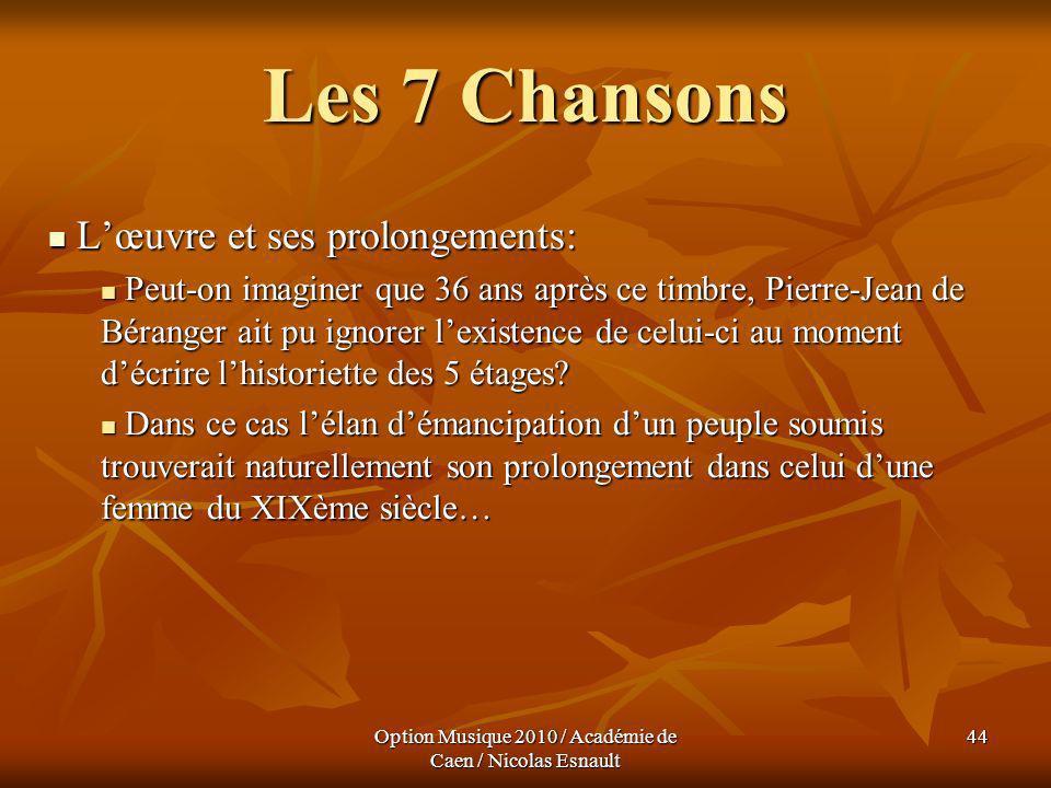 Option Musique 2010 / Académie de Caen / Nicolas Esnault 44 Les 7 Chansons Lœuvre et ses prolongements: Lœuvre et ses prolongements: Peut-on imaginer