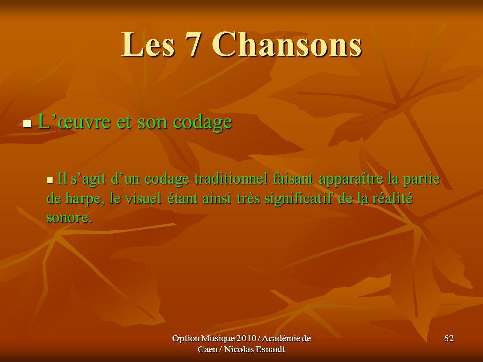 Option Musique 2010 / Académie de Caen / Nicolas Esnault 52 Les 7 Chansons Lœuvre et son codage Lœuvre et son codage Il sagit dun codage traditionnel