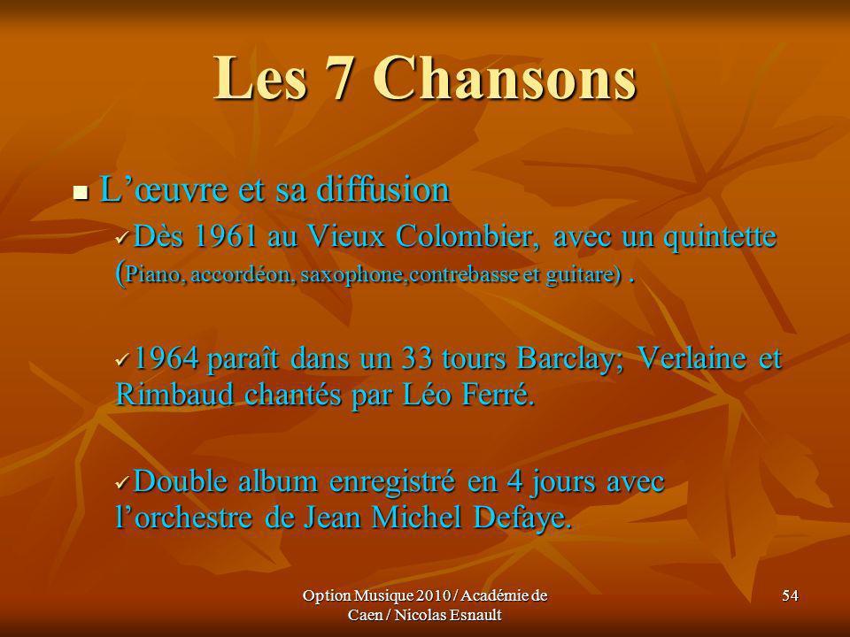Option Musique 2010 / Académie de Caen / Nicolas Esnault 54 Les 7 Chansons Lœuvre et sa diffusion Lœuvre et sa diffusion Dès 1961 au Vieux Colombier,