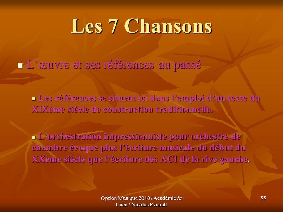 Option Musique 2010 / Académie de Caen / Nicolas Esnault 55 Les 7 Chansons Lœuvre et ses références au passé Lœuvre et ses références au passé Les réf