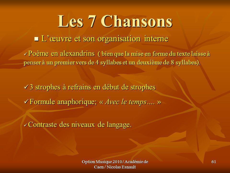 Option Musique 2010 / Académie de Caen / Nicolas Esnault 61 Les 7 Chansons Lœuvre et son organisation interne Lœuvre et son organisation interne Poème