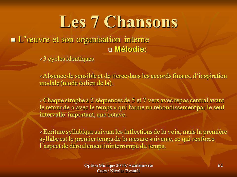 Option Musique 2010 / Académie de Caen / Nicolas Esnault 62 Les 7 Chansons Lœuvre et son organisation interne Lœuvre et son organisation interne Mélod