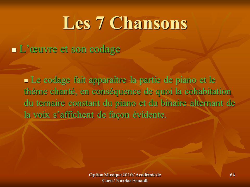 Option Musique 2010 / Académie de Caen / Nicolas Esnault 64 Les 7 Chansons Lœuvre et son codage Lœuvre et son codage Le codage fait apparaître la part