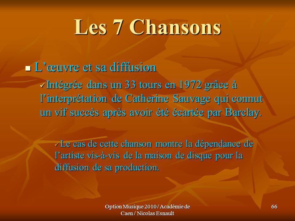 Option Musique 2010 / Académie de Caen / Nicolas Esnault 66 Les 7 Chansons Lœuvre et sa diffusion Lœuvre et sa diffusion Intégrée dans un 33 tours en