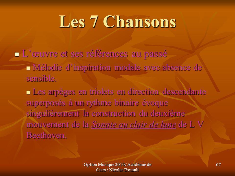 Option Musique 2010 / Académie de Caen / Nicolas Esnault 67 Les 7 Chansons Lœuvre et ses références au passé Lœuvre et ses références au passé Mélodie