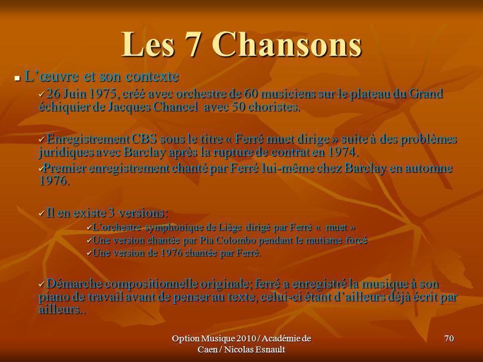 Option Musique 2010 / Académie de Caen / Nicolas Esnault 70 Les 7 Chansons Lœuvre et son contexte Lœuvre et son contexte 26 Juin 1975, créé avec orche