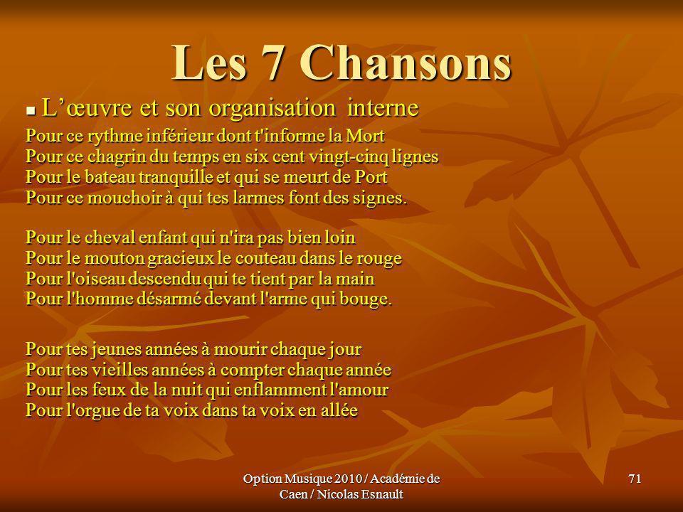 Option Musique 2010 / Académie de Caen / Nicolas Esnault 71 Les 7 Chansons Lœuvre et son organisation interne Lœuvre et son organisation interne Pour