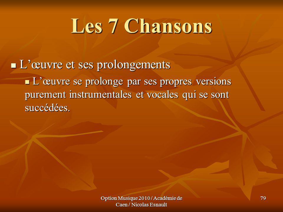 Option Musique 2010 / Académie de Caen / Nicolas Esnault 79 Les 7 Chansons Lœuvre et ses prolongements Lœuvre et ses prolongements Lœuvre se prolonge