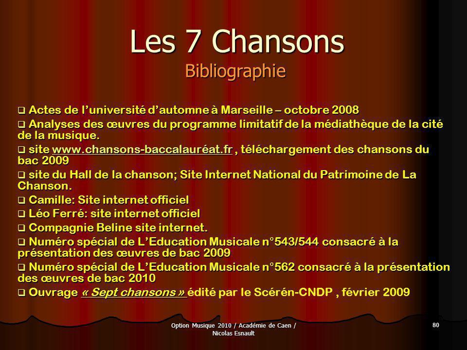 Option Musique 2010 / Académie de Caen / Nicolas Esnault 80 Les 7 Chansons Bibliographie Actes de luniversité dautomne à Marseille – octobre 2008 Acte