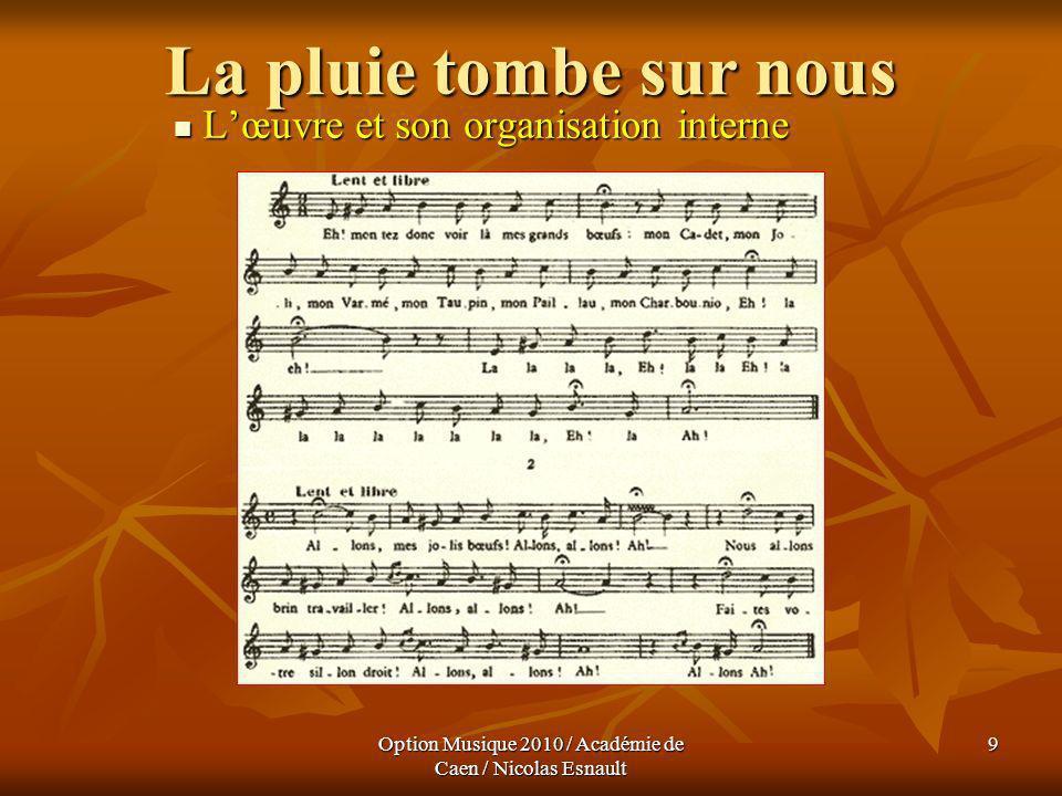 Option Musique 2010 / Académie de Caen / Nicolas Esnault 9 La pluie tombe sur nous Lœuvre et son organisation interne Lœuvre et son organisation inter