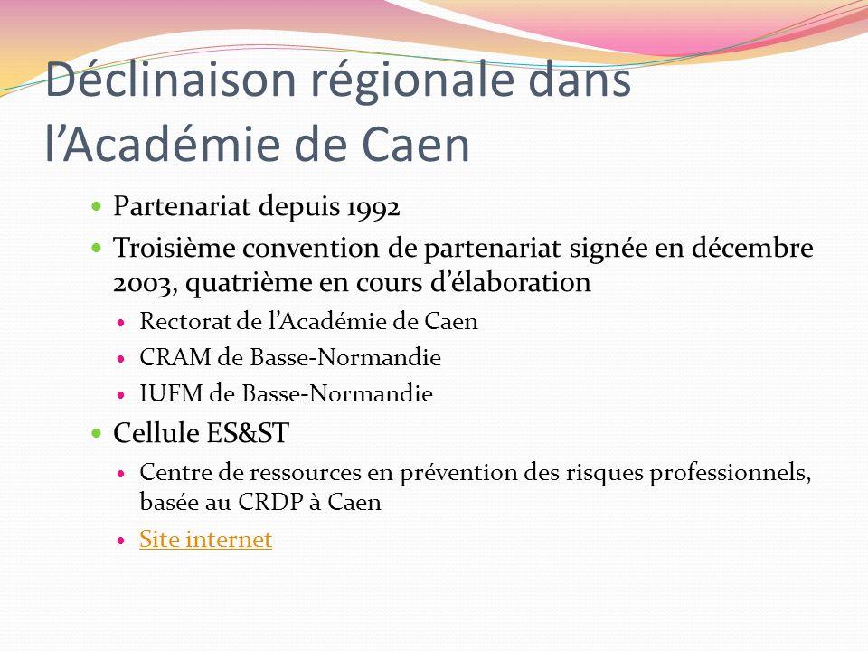 Déclinaison régionale dans lAcadémie de Caen Partenariat depuis 1992 Troisième convention de partenariat signée en décembre 2003, quatrième en cours d
