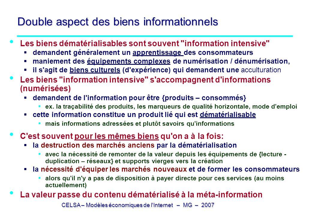 CELSA – Modèles économiques de l'Internet – MG – 2007 Double aspect des biens informationnels Les biens dématérialisables sont souvent