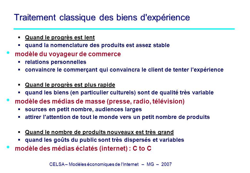 CELSA – Modèles économiques de l'Internet – MG – 2007 Traitement classique des biens d'expérience Quand le progrès est lent quand la nomenclature des