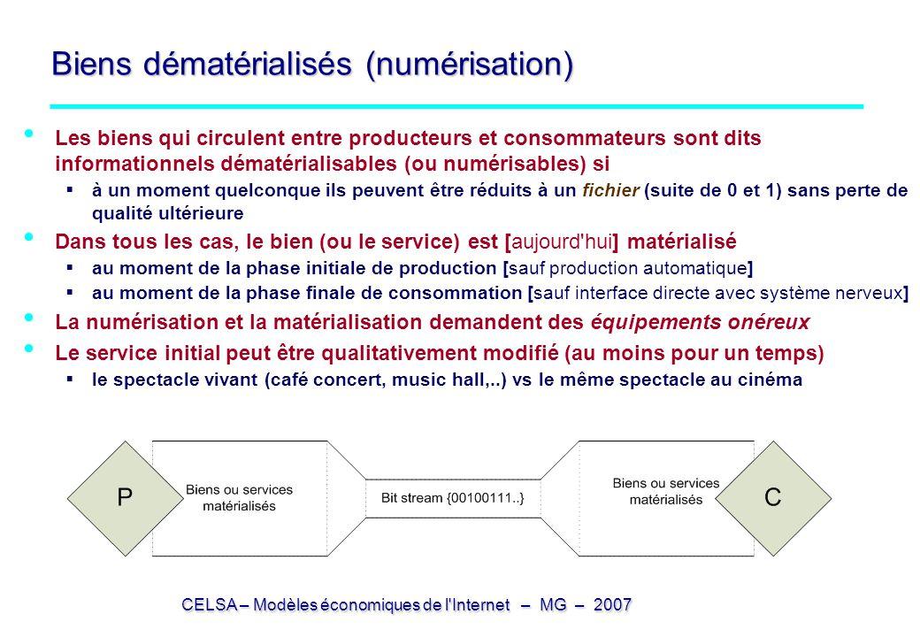 CELSA – Modèles économiques de l'Internet – MG – 2007 Biens dématérialisés (numérisation) Les biens qui circulent entre producteurs et consommateurs s
